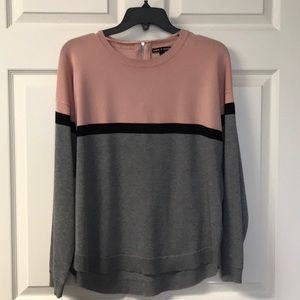 Cable and Gauge Sweater sz XL Pink Gray and black